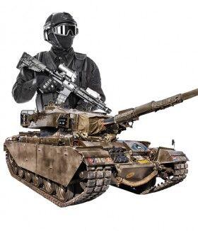 Soldados y blindados