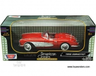 MOTORMAX 73109 1958 CHEVROLET CORVETTE RED WITH WHITE 1:18