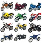MOTORMAX 76205 12 ASSORTED MOTORCYCLES WITH STAND, 2006
