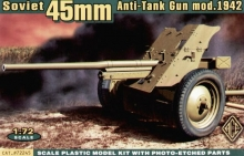 ACE 72245 1:72 45MM SOVIET AT (M1942) WITH LIMBER (P/E SHIELD) CAÑON