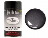 TESTORS 1254 SPRAY ENAMEL, BLACK MEALLIC 85G CAN