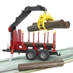 BRUDER 02252 FORESTRY TRAILER WITH LOADING CRANE, 4 TRUNKS AND GRAB