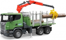 BRUDER 03524 SCANIA R-SERIES TIMBER TRUCK WITH LOADING CRANE AND 3TRUNKS