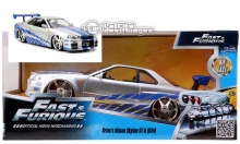 JADA 97158 1:24 FF 2002 NISSAN SKYLINE SILVER FAST AND FURIOUS