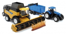 NEWRAY 05763 1:32 NEW HOLLAND HARVESTER WITH FARM TRACTOR TRAILER SET