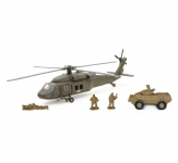 NEWRAY 21833 DIE CAST SIKORSKY UH-60 BLACK HAWK W/ ARMORED VEHICLE SET
