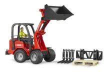 BRUDER 02191 SCHÄFFER COMPACT LOADER 2034 WITH FIGURE AND ACCESSORIES