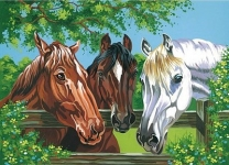COLART 86295 HORSES ACRYLIC PAINT BY NUMBER (11.5 PULGX15.5 PULG)
