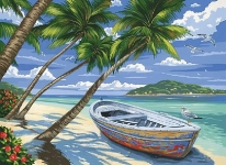 COLART 86297 TROPICAL BEACH (ROW BOAT ON BEACH) ACRYLIC PAINT BY NUMBER (11.5 PULGX15.5 PULG)