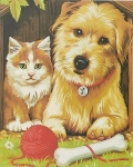 COLART 86303 JUST GOOD FRIENDS (CAT & DOG) ACRYLIC PAINT BY NUMBER (9 PULGX12 PULG)