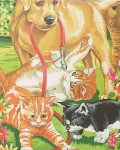 COLART 86305 DOG & KITTENS ACRYLIC PAINT BY NUMBER (9 PULGX12 PULG)