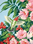 DIMENSIONS 91310 HUMMINGBIRD & FUCHSIA FLOWERS PAINT BY NUMBER (9 PULGX12 PULG)