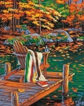 DIMENSIONS 91468 GOLDEN POND (CHAIR ON DOCK/AUTUMN SCENE) PAINT BY NUMBER (11 PULGX14 PULG)