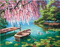 DIMENSIONS 91491 WILLOW SPRING BEAUTY (ROWBOAT/POND/DUCKS) PAINT BY NUMBER (14 PULGX11 PULG)