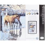 DIMENSIONS 91492 REFLECTIONS (HORSES/POND SNOW SCENE) PAINT BY NUMBER (12 PULGX20 PULG)