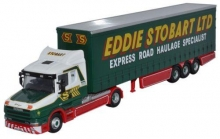 MAGAZINE STOJV9110 1:76 SCANIA T CAB CURTAINSIDE TRAILER STOBART, GREEN/RED/WHITE