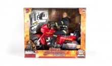 MCTOYS 90166 WORLD PEACEKEEPERS - FIRE FIGHTER WITH  FIRE RECSUE BIKE
