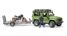 BRUDER 02598 LAND ROVER DEF.ST.W. WITH TRAILER, SCRAMBLER DUCATI CAFE RACER + DRIVER