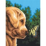 DIMENSIONS 91618 NEWFOUND FRIENDS (DOG & BUTTERFLY) PAINT BY NUMBER (9PULGX12PULG)