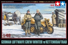 TAMIYA 32412 1:48 GERMAN LUFTWAFFE CREW (WINTER) (5) W/KETTENKRAFTRAD VEHICLE