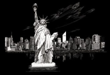 ROYAL FAM-6 SILVER FOIL ART STATUE OF LIBERTY